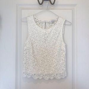 Aritzia white lace sleeveless top size: xxs